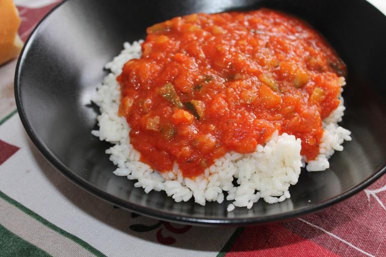 Arroz con pisto de verdura (2 raciones)