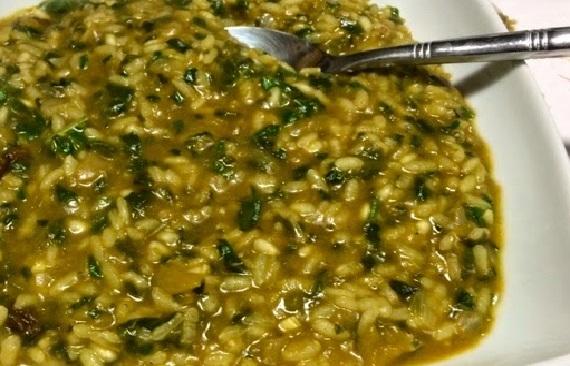 Arroz meloso con espinacas (2 raciones)